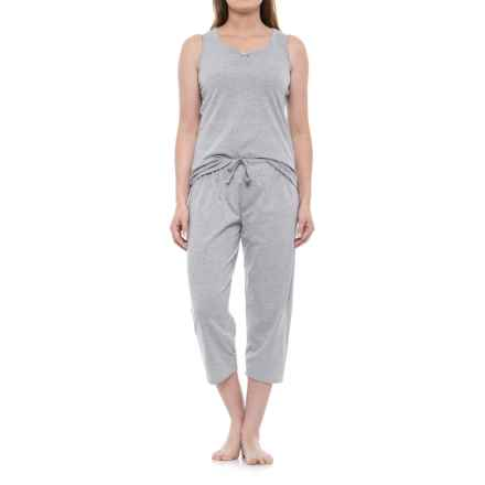 KayAnna Scrunch Front Tank and Capri Pajamas - Sleeveless (For Women) in Heather Grey - Closeouts