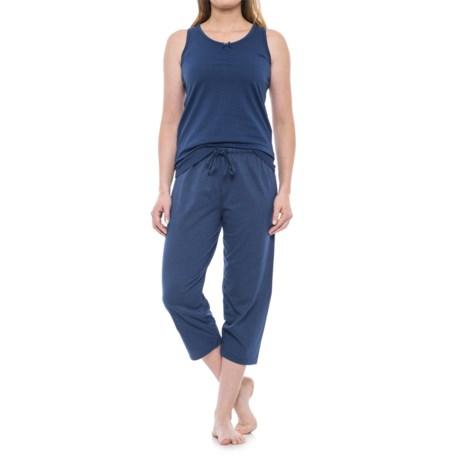 KayAnna Scrunch Front Tank and Capri Pajamas - Sleeveless (For Women) in True Navy