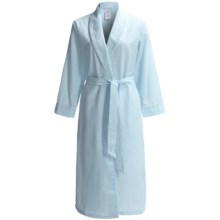 KayAnna Seersucker Stripe Wrap Robe - Long Sleeve (For Women) in Aqua/White - Closeouts