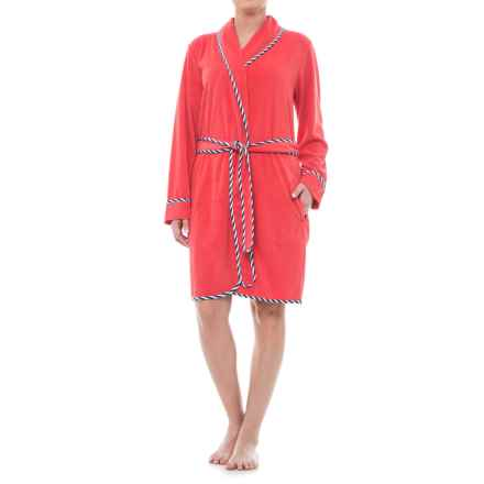 KayAnna Terry Wrap Robe - Long Sleeve (For Women) in Coral - Closeouts