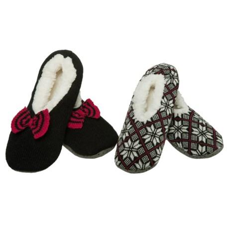 K.Bell Slipper Socks - 2-Pack (For Women) in Black/Red