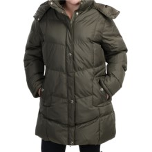 KC Collection Hooded Quilted Coat - Insulated (For Plus Size Women) in Dark Olive - Closeouts