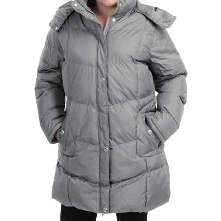 KC Collection Hooded Quilted Coat - Insulated (For Plus Size Women) in Silver - Closeouts