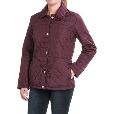 KC Collection Quilted Button-Front Barn Jacket - Insulated (For Women) in Mulberry