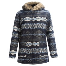 KC Collections Anorak Coat (For Plus Size Women) in Blue Aztec - Closeouts