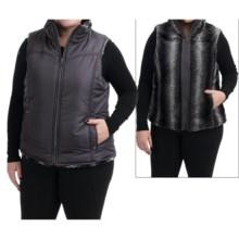 KC Collections Faux-Fur Reversible Vest (For Plus Size Women) in Steel - Closeouts