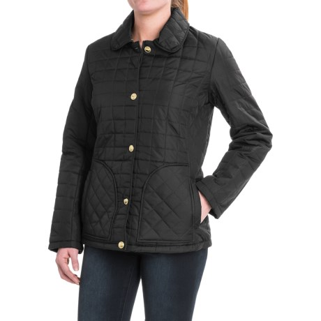 KC Collections Quilted Button-Front Barn Jacket - Insulated (For Women) in Black