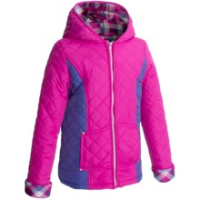 KC Collections Quilted Two-Tone Coat (For Girls) in Fuchsia/Purple - Closeouts