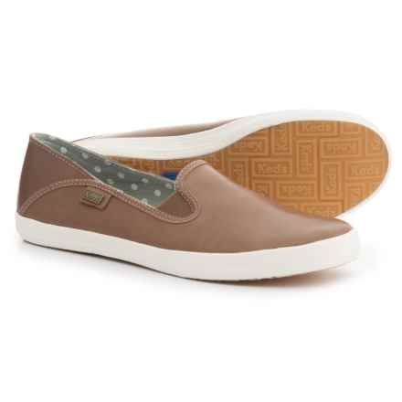 Keds Crashback Leather Shoes - Slip-Ons (For Women) in Grey - Closeouts