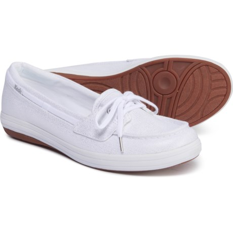 d4da2700 Keds Glimmer Metallic Boat Shoes (For Women) in White/Silver