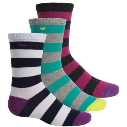 Keds Varsity Stripe Socks - 3-Pack, Crew (For Little Girls) in Grey/Dark Grey/White W/Stripes - Closeouts