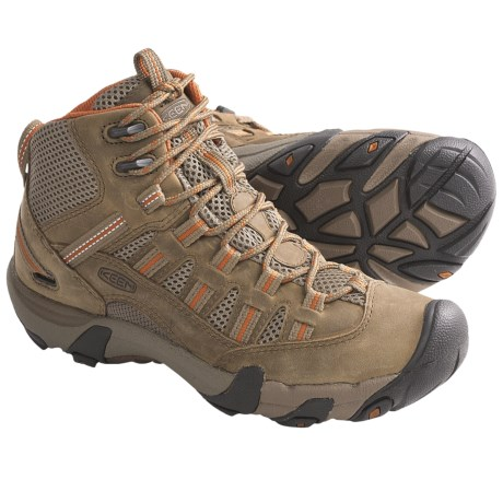 Keen Alamosa Mid Hiking Boots - Leather (For Women) in Gargoyle/Jade Green