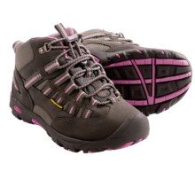 Keen Alamosa Mid Waterproof Hiking Boots - Leather (For Youth Girls) in Gargoyle/Wild Orchid - Closeouts