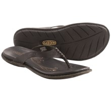 Keen Alman Flip-Flop Sandals - Leather (For Women) in Black - Closeouts