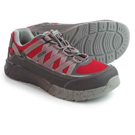 Keen Asheville ESD Work Shoes - Aluminum Safety Toe (For Men) in Magnet/Racing Red - Closeouts
