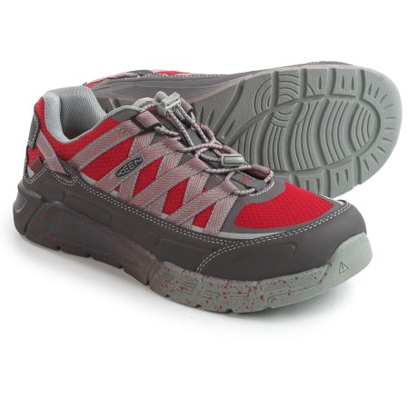 Keen Asheville ESD Work Shoes - Aluminum Safety Toe (For Men) in Magnet/Racing Red