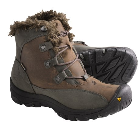 Keen Bailey Low Winter Boots - Waterproof, Insulated (For Women) in Dark Earth/Gargoyle