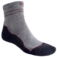 Keen Bellingham Lite Socks - Merino Wool, Lightweight, Quarter-Crew (For Men) in Grey/Berry/Charcoal - Closeouts