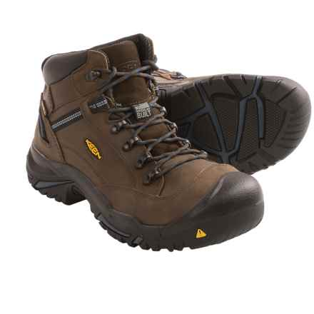 Keen Braddock Mid AL Work Boots - Steel Safety Toe, Waterproof (For Men) in Bison/Ensign Blue - 2nds