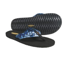 Keen Cabo Flip-Flop Sandals - Mush® Footbed (For Women) in Blue/Block Print