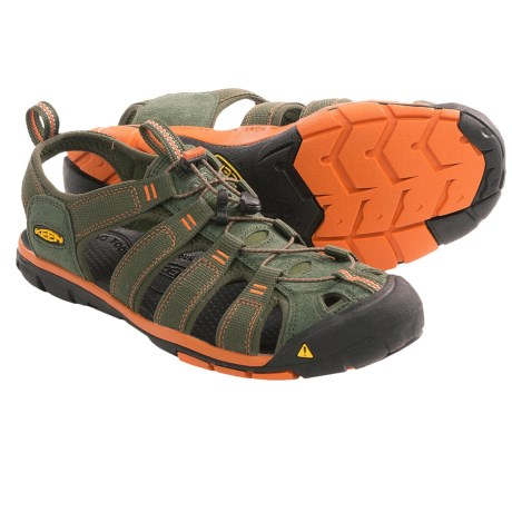 Keen Clearwater CNX Sandals - Suede (For Men) in Forest Night/Rust