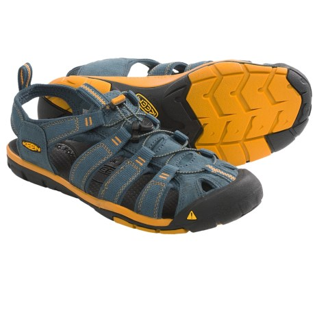 Keen Clearwater CNX Sandals - Suede (For Men) in Midnight Navy/Golden Yellow