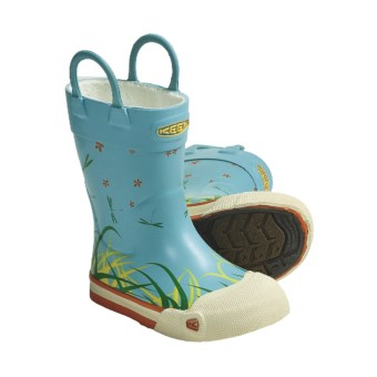 Keen Coronado Rain Boots- Waterproof, Microfleece Lining (For Kids and Youth) in Grass Print