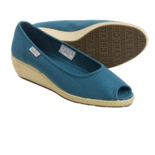 Keen Cortona Wedge CVS Shoes - Canvas, Peep Toe (For Women) in Indian Teal - Closeouts