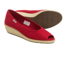 Keen Cortona Wedge CVS Shoes - Canvas, Peep Toe (For Women) in Ribbon Red - Closeouts