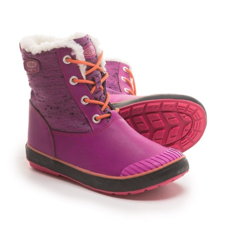 Keen Elsa Snow Boots - Waterproof, Insulated (For Big Girls) in Purple Wine/Tigerlilly