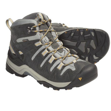 Keen Gypsum Mid Hiking Boots - Waterproof, Nubuck (For Women) in Midnight Navy/Green Sheen