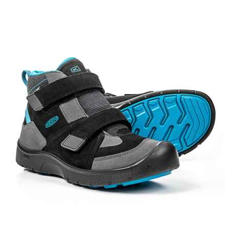 Keen Hikeport Mid Strap Boots - Waterproof (For Little and Big Boys) in Black/Blue Jewel - Closeouts