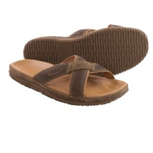 Keen Hilo Slide Sandals - Leather (For Men) in Dark Earth - Closeouts