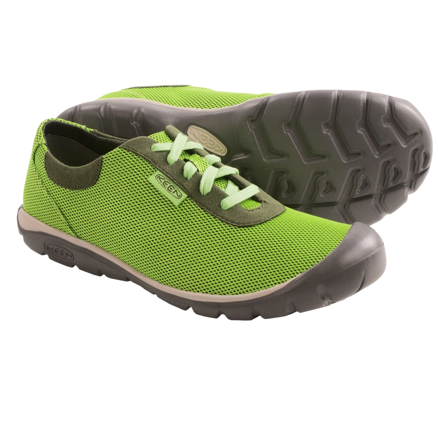 Keen Kanga Lace Shoes (For Women) in Lime Green/Forest Night