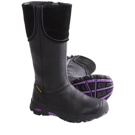 Keen Laken Boots - Waterproof (For Kids and Youth Girls) in Black/Purple Heart