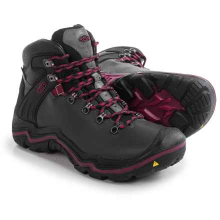 Keen Liberty Ridge Hiking Boots - Waterproof, Leather (For Women) in Gargoyle/Beet Red - Closeouts