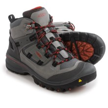 Keen Logan Mid Hiking Boots - Waterproof, Leather (For Men) in Neutral Grey/Racing Red - Closeouts