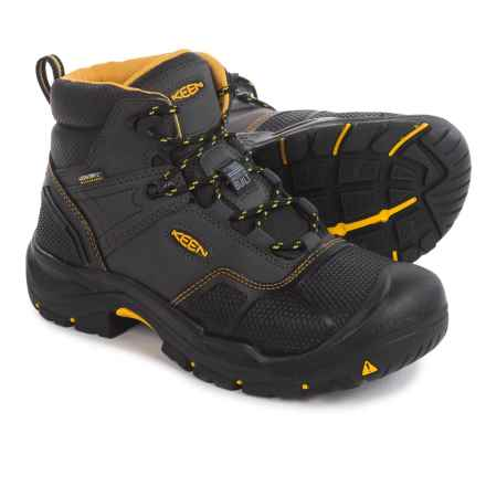 Keen Logandale Work Boots - Waterproof, Steel Toe (For Men) in Raven/Black - 2nds