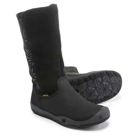 Keen Moxie Tall WP Boots - Waterproof, Leather (For Girls) in Black/Magnet - Closeouts