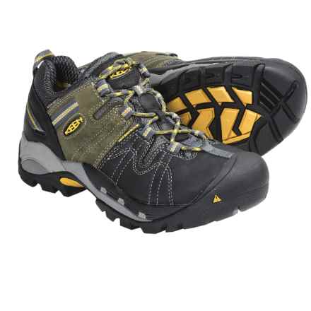 Keen Pittsburgh Low Work Shoes - Waterproof (For Men) in Black/Green - Closeouts