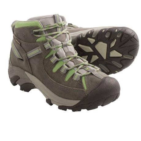 Keen Targhee II Trail Shoes - Mid-Height, Waterproof (For Women) in Gargoyle/Jade Green
