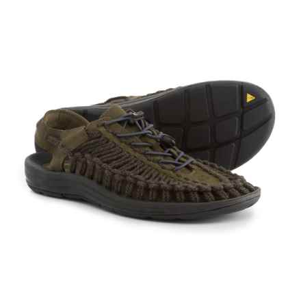 Keen Uneek Leather Sandals (For Men) in Olive/Black Olive - Closeouts