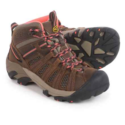 Keen Voyageur Mid Hiking Boots (For Women) in Cascade Brown/Fusion Coral - Closeouts