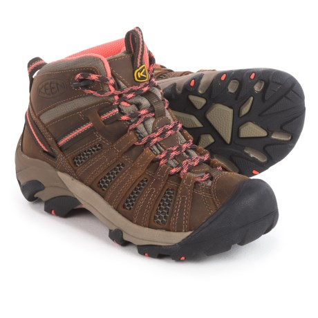 Keen Voyageur Mid Hiking Boots (For Women) in Cascade Brown/Fusion Coral
