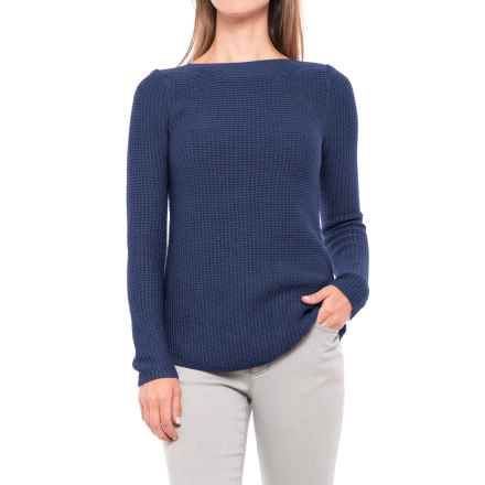 Kenar Cotton-Blend Textured Sweater - Boat Neck (For Women) in Emperor - Closeouts