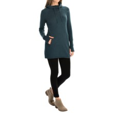 Kenar Cowl Neck Hooded Tunic Sweater - Cotton (For Women) in Deep Teal Heather - Closeouts