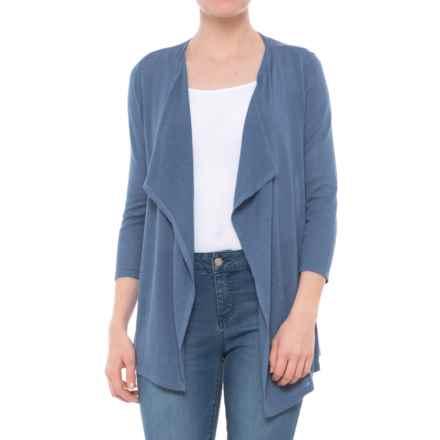 Kenar Drape Neck Cardigan Sweater - Open Front, 3/4 Sleeve (For Women) in Dress Blues - Closeouts