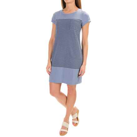 Kenar Engineered Stripe Cotton Dress - Crew Neck, Short Sleeve (For Women) in Belize/Lake Bottom - Closeouts