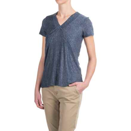 Kenar Heathered Linen Shirt - V-Neck, Short Sleeve (For Women) in Navy Heather - Closeouts