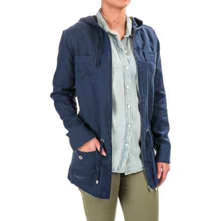 Kenar Linen Anorak Jacket - Hooded (For Women) in Burnt Slate - Overstock